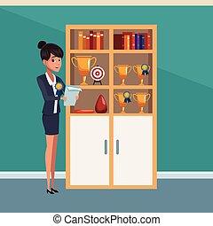affärskvinna, kontor