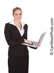affärskvinna, laptop, holdingen, lycklig