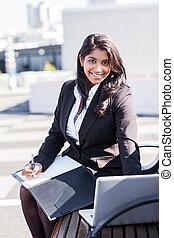 affärskvinna, laptop, indisk