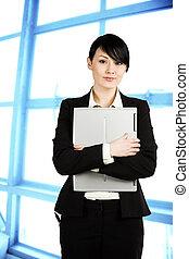 affärskvinna, laptop