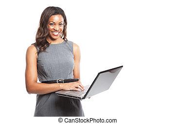 affärskvinna, laptop, svart