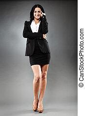 affärskvinna, le, attraktiv