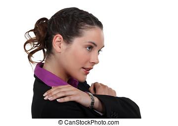 affärskvinna, lidande, från, knuffa, smärta