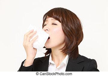 affärskvinna, med, en, allergi
