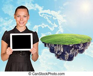 affärskvinna, med, kompress, och, ö, in, sky