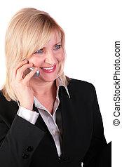 affärskvinna, middleaged, 2, mobiltelefon