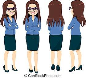 affärskvinna, olik, glasögon, synvinkel, synhåll