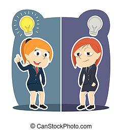 affärskvinna, olik, idé
