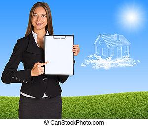 affärskvinna, papper, innehavare, holdingen