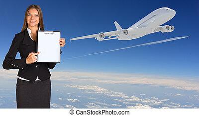 affärskvinna, pappers- gårdsbruksenhet, holder., airplane, in, den, sky
