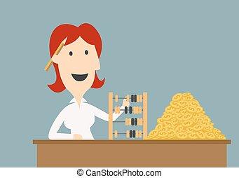 affärskvinna, räkning, guld peng, med, kulram