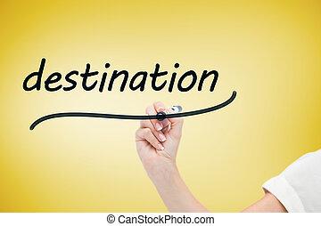 affärskvinna, skrift, den, ord, destination