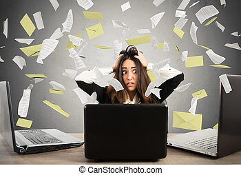affärskvinna, stressa, spam