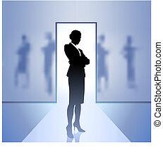 affärskvinna, styrelse, fokusera, fond suddiga