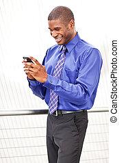 affärskvinna, svart, texting