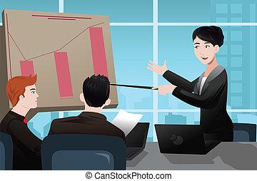 affärskvinna, tillverkning, a, presentation
