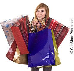 affärskvinnor, med, grupp, av, väska, shopping.