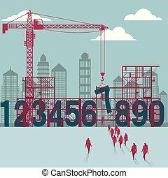 affärsmän, construction., sajt., byggnad, under, numrera, grupp, gå