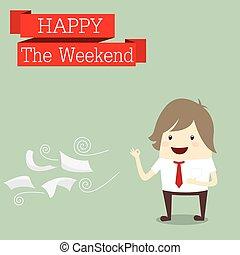affärsman, är, lycklig, helgen, koppla av, tid, arbeta efter, hårt,