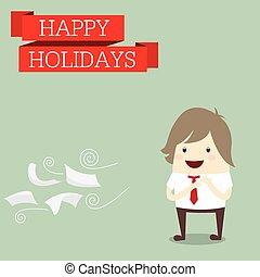 affärsman, är, lycklig, hos, den, helgdag, koppla av, tid, arbeta efter, hårt,