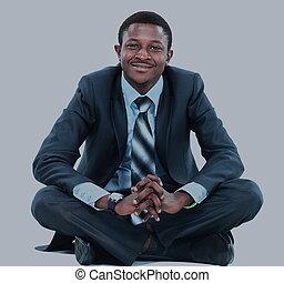 affärsman, afroamerikansk, avkopplande