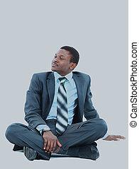 affärsman, afroamerikansk, relaxing.