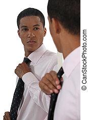 affärsman, afroamerikansk, smart