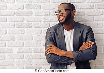 affärsman, amerikan, afro-