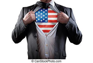 affärsman, amerikan, skjorta, flagga, superhero