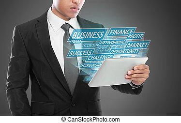 affärsman, användande, skrivblock persondator, affärsidé
