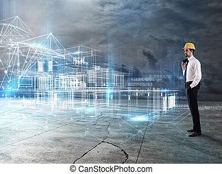 affärsman, arkitekt, analyser, a, projekt, av, a, byggnad