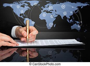 affärsman, avbild, undertecknande kontrahera, beskuren