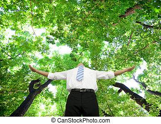 affärsman, avslappnad, skog, stå