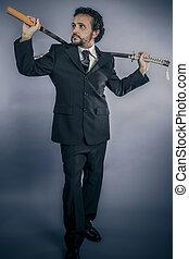 affärsman, begrepp, beväpnat, med, japansk, svärd