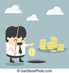 affärsman, begrepp, investering