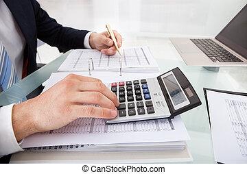 affärsman, bekostnad, kontor, beräknande, holdingen