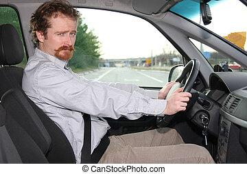 affärsman, bil
