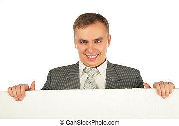 affärsman, bord, text
