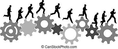 affärsman, bråttom, kör, på, industriell, maskin, utrustar