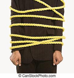 affärsman, bundet, in, rope.