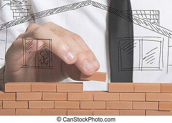 affärsman, bygger, nytt hus