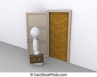 affärsman, dörröppning, blockerat