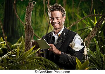 affärsman, djungel, kompress