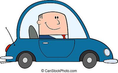 affärsman, drivande, bil