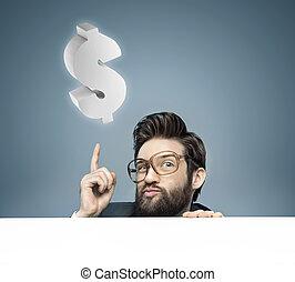affärsman, duktig, ung, lyftande pengar