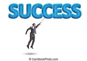 affärsman, flygning, in, framgång, begrepp
