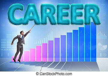 affärsman, flygning, in, karriär, begrepp