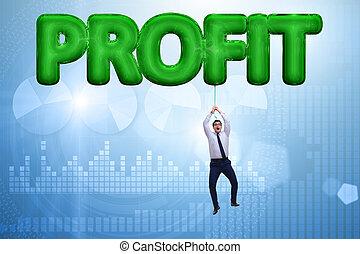 affärsman, flygning, in, profit, begrepp