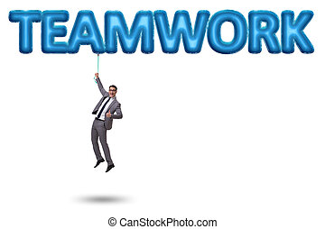 affärsman, flygning, in, teamwork, begrepp
