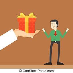 affärsman, gåva, överraskning